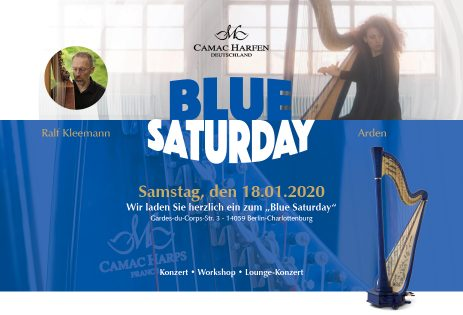 "Blue Saturday – Elektro-Workshop mit Ralf Kleeman, abends Lounge-Konzert mit blauer Harfe: ""Arden"""